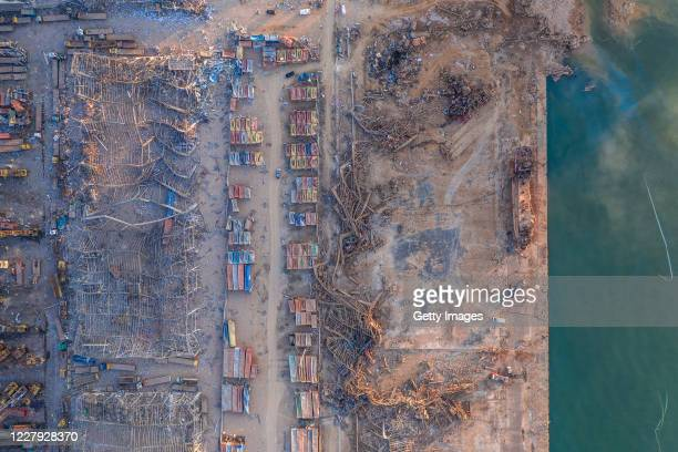 An aerial view of ruined structures at the port, damaged by an explosion a day earlier, on August 5, 2020 in Beirut, Lebanon. As of Wednesday, more...