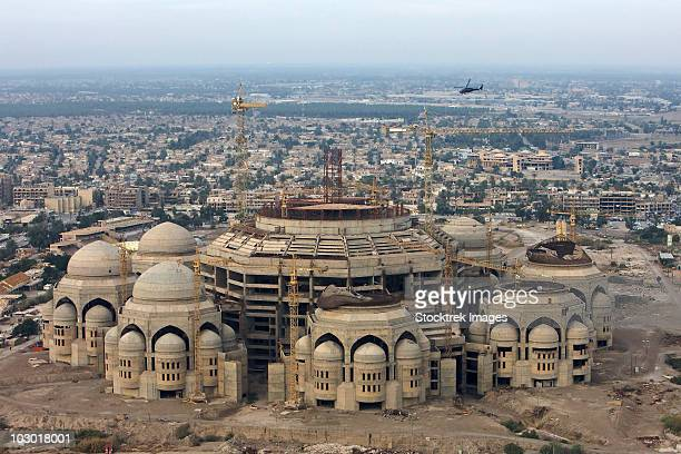 An aerial view of Saddam Hussien's Great Mosque in Baghdad, Iraq.