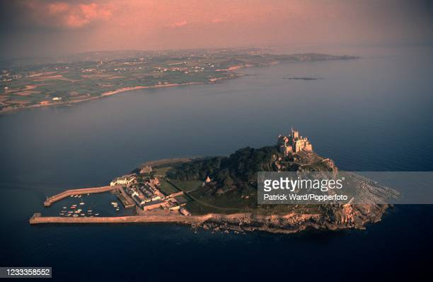 An aerial view of Saint Michael's Mount in Cornwall, circa June 1987.