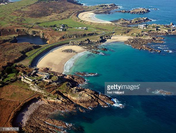 an aerial view of  sandy corblets beach  alderney - isola di guernsey foto e immagini stock