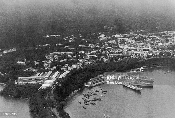 An aerial view of Santa Isabel capital of Equatorial Guinea on the island of Fernando Po circa 1968