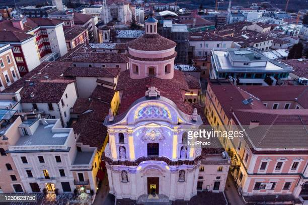 """An aerial view of Santa Maria del Suffragio in L'Aquila with special lights on January 16, 2021. L'Aquila is a finalist for """"2022 culture..."""