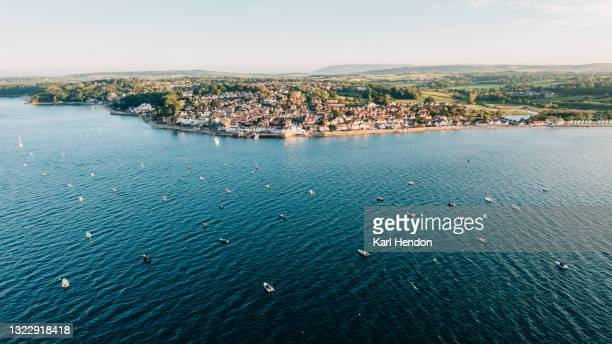 an aerial view of seaview, isle of wight at sunset - stock photo - isle of wight stock pictures, royalty-free photos & images