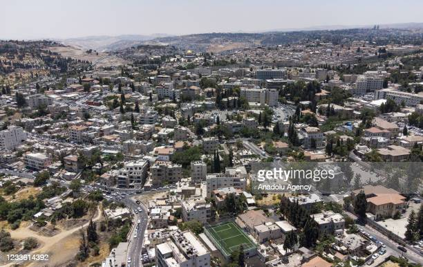 An aerial view of Sheikh Jarrah neighborhood, where Israel decided to evict Palestinian families in Jerusalem on June 23, 2021. Tensions have...