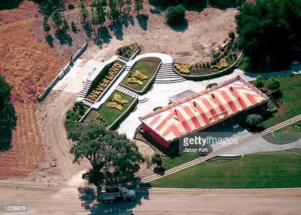 An aerial view of singer Michael Jackson''s Neverland them park June 25 2001 in Santa Ynez CA