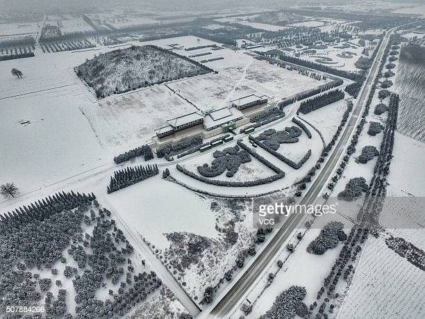 An aerial view of snowcovered Tomb of Emperor Jingdi on January 31 2016 in Xi An China Heavy snow hit Xi'an capital of northwest China's Shaanxi...