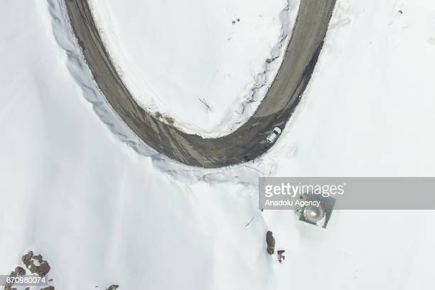 An aerial view of snowy Karapet Pass in Van Turkey on April 20 2017 Snow level is 8 meters at locally roadside even though snow has been removed in...