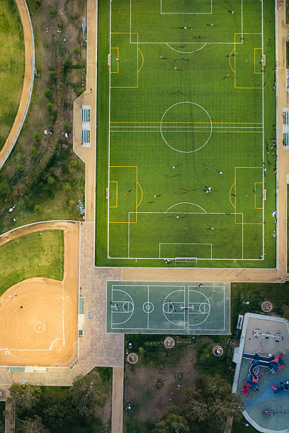 An aerial view of soccer and baseball field