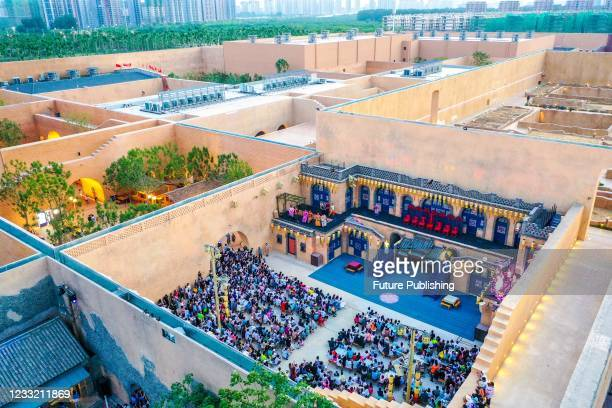 An aerial view of some courtyards in the 56-grid theatre cluster named Only Henan in Zhongmou county in central China's Henan province Saturday,...