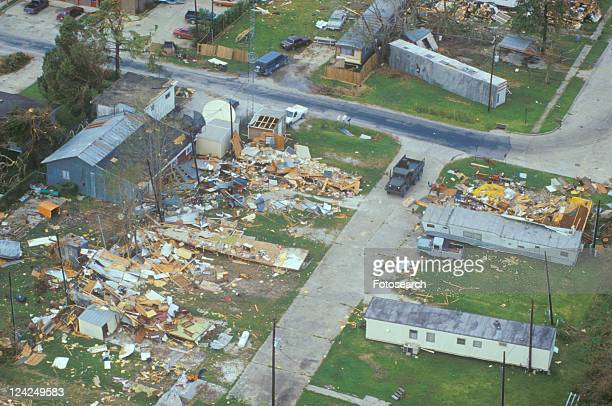 An aerial view of some damage caused by Hurricane Andrew