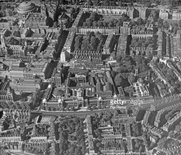 An aerial view of South Kensington in London, showing the Royal Albert Hall at the top right and the Victoria and Albert Museum in the lower centre,...