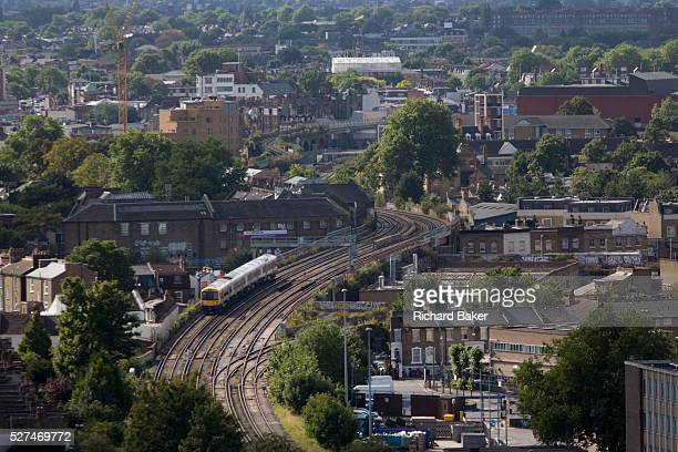 An aerial view of south London looking from Camberwell towards a commuter train crossing the capital Transport by rail can ben seen clearly as we...