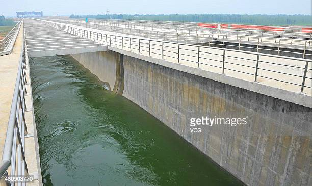 An aerial view of South-to-North Water Diversion Project on September 24, 2014 in Dengzhou, Henan province of China. The central route of...