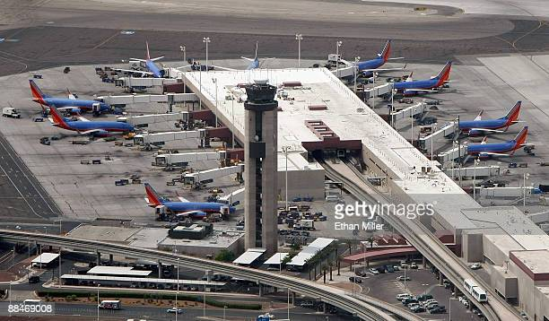 An aerial view of Southwest Airlines planes parked at a gate at McCarran International Airport June 12 2009 in Las Vegas Nevada