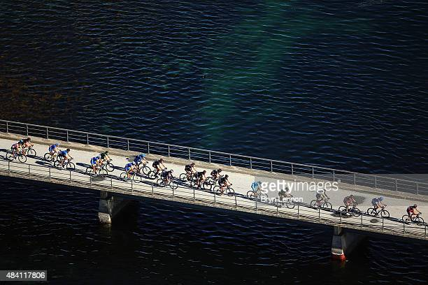 An aerial view of stage three of the 2015 Arctic Race of Norway a 183km stage between Finnsnes and Malselv on August 15 2015 in Malselv Norway