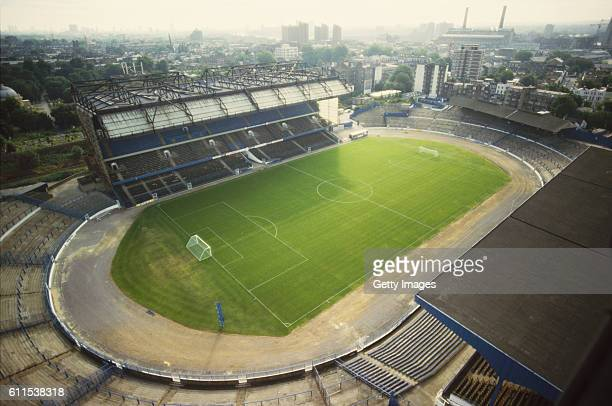 An aerial view of Stamford Bridge home of Chelsea Football Club circa 1988 in London England