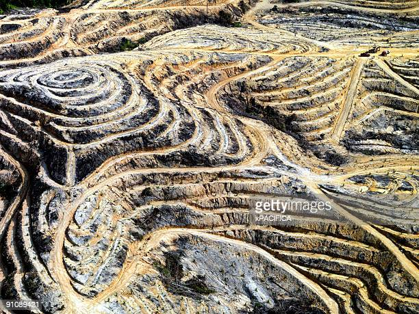 An aerial view of strip mining