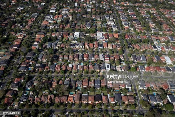 An aerial view of suburban houses on April 22, 2020 in Sydney, Australia. Restrictions have been placed on all non-essential business and strict...
