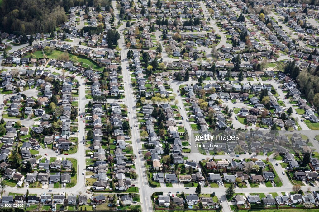 An aerial view of suburban housing outside Vancouver : Stock-Foto