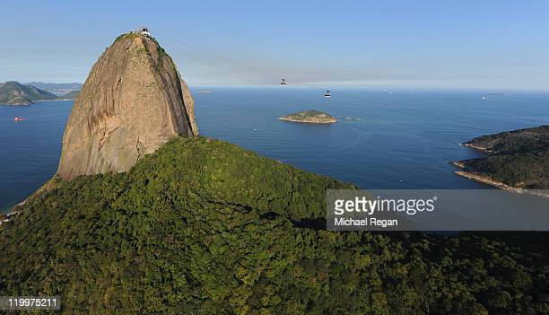 An aerial view of Sugarloaf Mountain on July 27 2011 in Rio de Janeiro Brazil