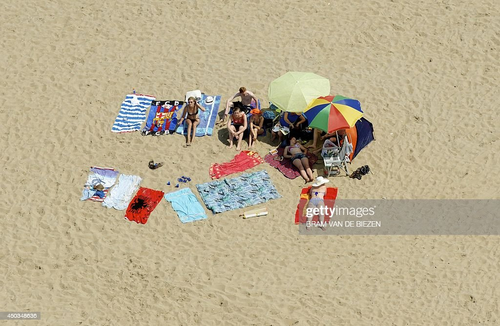 An aerial view of sunbathers on the beach in Noordwijk, the Netherlands, on June 9, 2014.