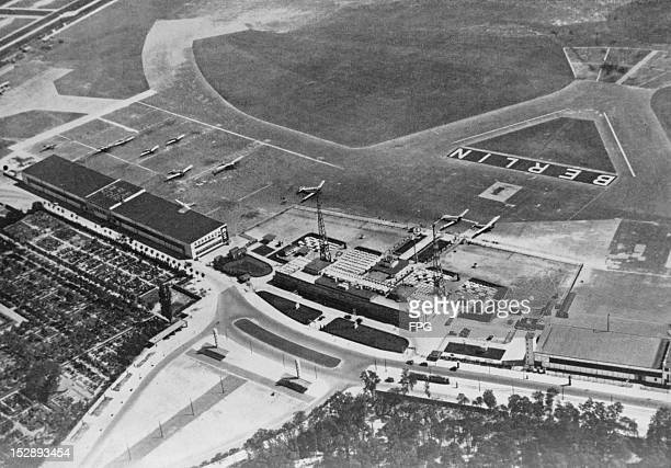 An aerial view of Tempelhof Airport in Berlin, circa 1930. The airport was remodelled by architect Ernst Sagebiel in 1936-1941.