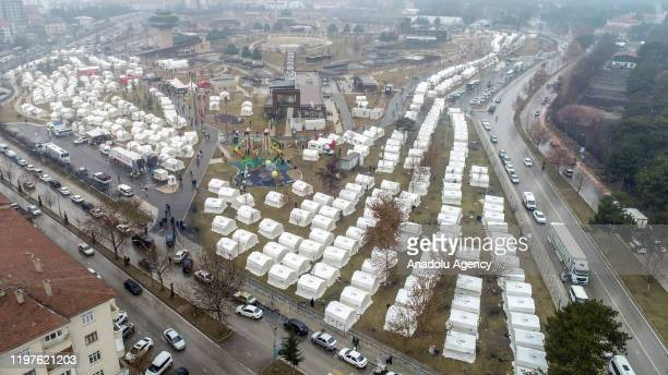 An aerial view of tents built by Turkish Red Crescent and Turkeyâs Disaster and Emergency Management Authority for those affected by the 68magnitude...