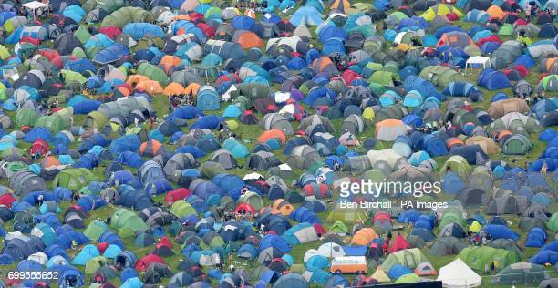 An aerial view of tents during the Glastonbury Festival at Worthy Farm in Pilton Somerset