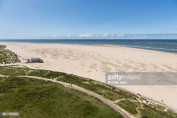 An aerial view of Texel white sand beach in the Netherlands