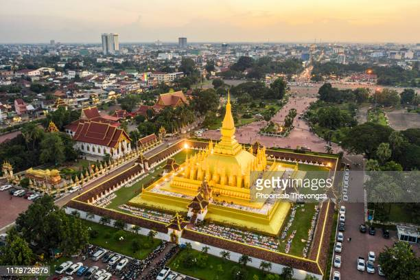 an aerial view of that luang, vientiane, laos - laos stock pictures, royalty-free photos & images