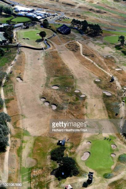An aerial view of the 10th and 11th holes during previews to the 147th Open Championship at Carnoustie Golf Club on July 18 2018 in Carnoustie...