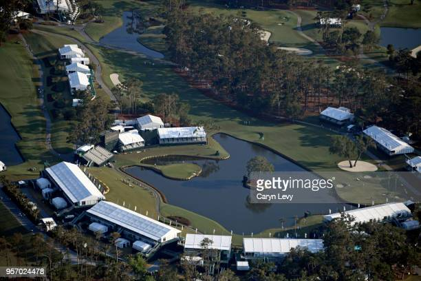 An aerial view of the 16th and 17th holes from THE PLAYERS blimp during the first round of THE PLAYERS Championship on THE PLAYERS Stadium Course at...