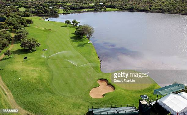 An aerial view of the 17th hole after the final round of The Nedbank Golf Challenge at The Gary Player Golf and Country Club on December 5 Sun City...