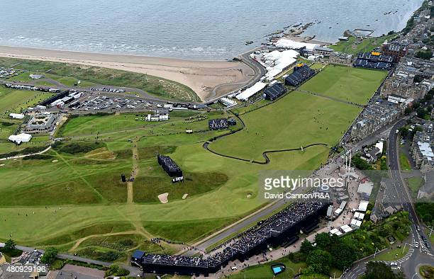 An aerial view of the 17th hole with the first and 18th holes behind during the first round of the 144th Open Championship at The Old Course on July...