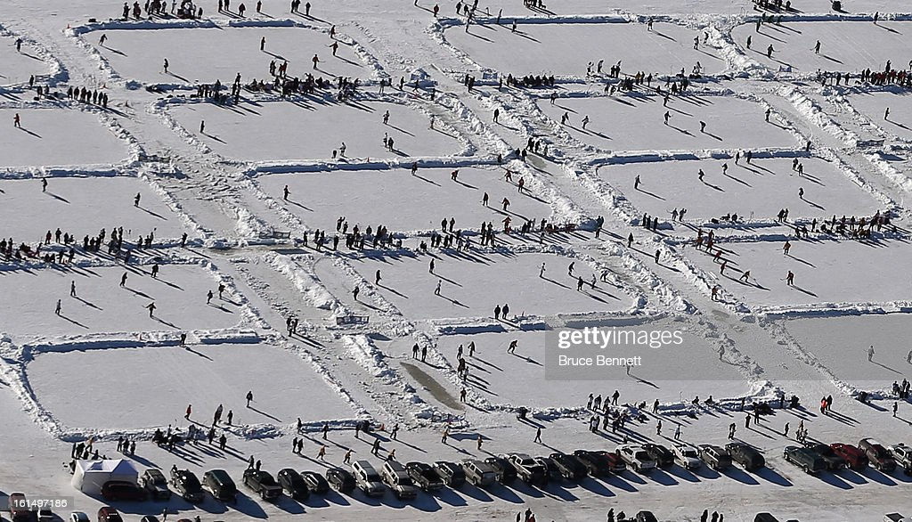 An aerial view of the 2013 USA Hockey Pond Hockey National Championships on February 9, 2013 in Eagle River, Wisconsin. The three-day tournament features 2,400 participants from 30 states playing a round robin tournament on 28 rinks laid out on Dollar Lake.