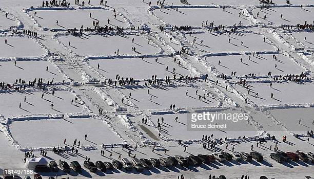 An aerial view of the 2013 USA Hockey Pond Hockey National Championships on February 9 2013 in Eagle River Wisconsin The threeday tournament features...