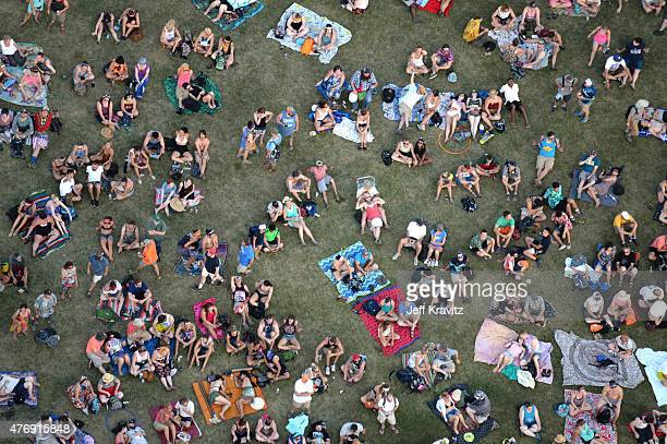An aerial view of the 2015 Bonnaroo Music And Arts Festival during Day 2 on June 12 2015 in Manchester Tennessee