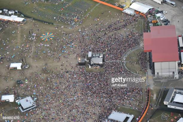 An aerial view of the 2017 Bonnaroo Arts And Music Festival during Day 3 on June 10 2017 in Manchester Tennessee