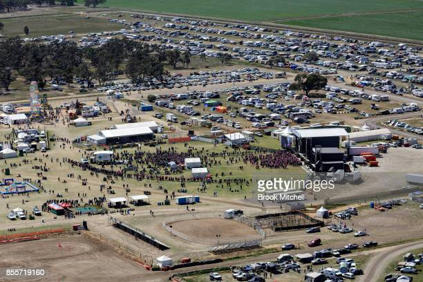 An aerial view of the 2017 Deni Ute Muster site on September 30 2017 in Deniliquin Australia The annual Deniliquin Ute Muster is the largest ute...