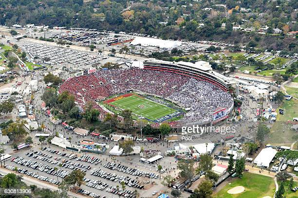 An aerial view of the 2017 Rose Bowl Game presented by Northwestern Mutual between the USC Trojans and the Penn State Nittany Lions at the Rose Bowl...