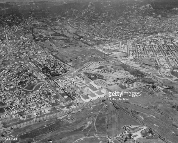 An aerial view of the 20th Century Fox film studios on the western edge of Beverly Hills in Los Angeles California circa 1937