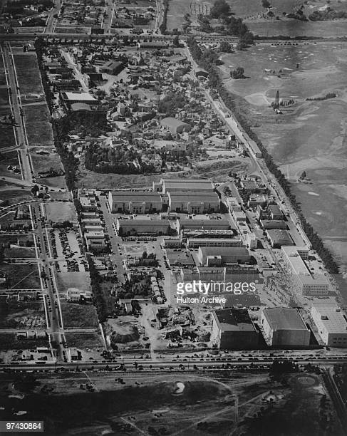 An aerial view of the 20th Century Fox film studios on the western edge of Beverly Hills Los Angeles California circa 1940