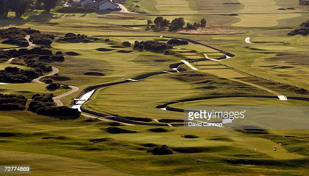 An aerial view of the 249 yards par 3 16th hole 'Barry Burn and the 433 yds par 4 17th hole 'Island' on the Carnoustie Championship Course venue for...