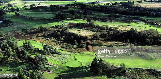 An aerial view of the 2nd hole and the 16th green on the Queen's Course at Gleneagles Hotel on September 21 in Auchterarder Perthshire Scotland
