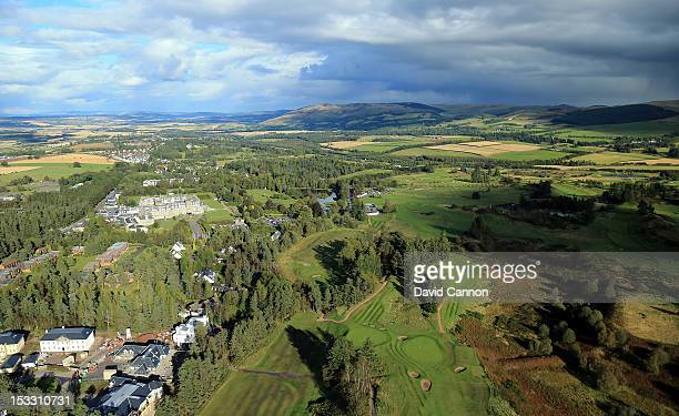 An aerial view of the 2nd hole the 16th green and the 17th hole on the Queen's Course at Gleneagles Hotel on September 21 in Auchterarder Perthshire...