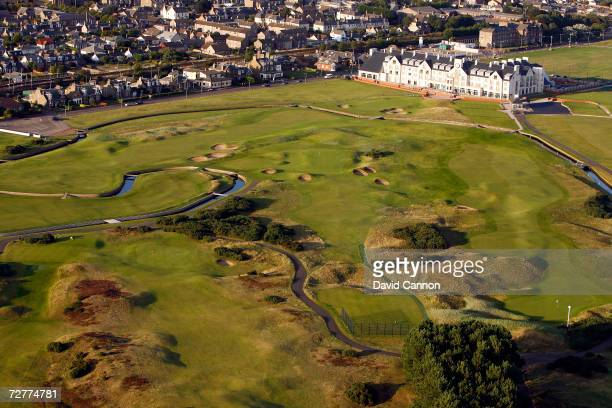 An aerial view of the 401 yards par 4 1st hole 'Cup' with the 249 yards par 3 16th hole 'Barry Burn' with the 18th green with the Barry Burn and the...