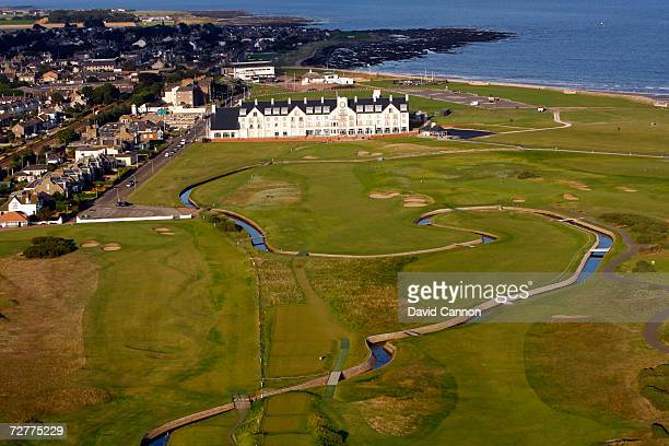 An aerial view of the 444 yds par 4 18th hole 'Home' on the Carnoustie Championship Course venue for the 2007 Open Championship on September 8th in...
