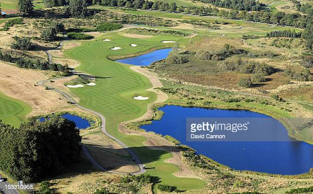 An aerial view of the 564 yards par 5 9th hole on the Centenary Course at Gleneagles Hotel venue for the 2014 Ryder Cup on September 21 in...