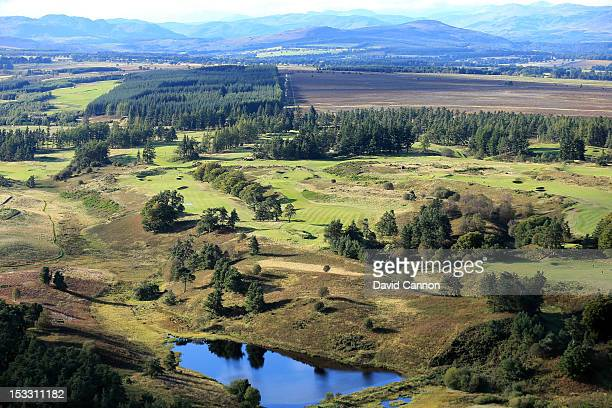 An aerial view of the 6th, 7th, 8th, 9th and 10th holes on the Kings Course at Gleneagles Hotel on September 21, in Auchterarder, Perthshire,...
