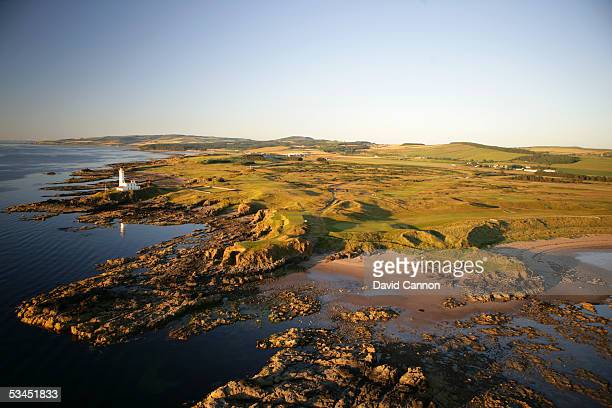 An aerial view of the 8 and 10th holes on the Ailsa Course at The Westin Turnberry Resort on July 10 2005 in Turnberry Scotland